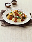 Polenta with Roasted Vegetables and Tomato Sauce