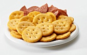 Crackers with Pepperoni on Plate