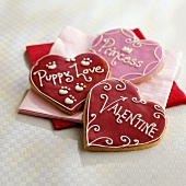 Three Heart Shaped Valentine Cookies