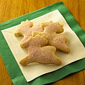 Reindeer Shaped Sugar Cookies with Pink Sugar Sprinkles