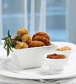 Cheese Fritters with Side Sauces