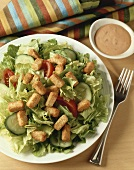A Garden Salad with Thousand Island Dressing