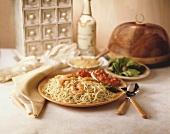 Engelshaar-Nudeln mit Shrimps & Bruschetta