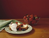 Pound cake with berries and whipped cream