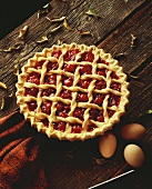A Whole Cherry Pie with Lattice Crust
