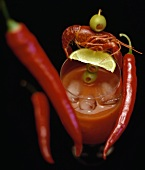 Cocktail with Crawfish, Limes, Olives and Chili Peppers