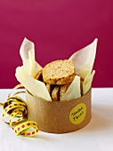 Toasted Pecan Cookies in a Gift Box with Ribbon
