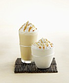 Iced White Chocolate and Iced Coffee Topped with Whipped Cream and Caramel
