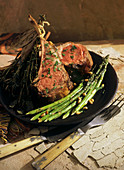 Lamb Chops with Herb Bouquet and Roasted Asparagus with Pine Nuts