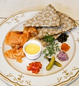 Smoked Salmon with Crackers and Assorted Toppings; Lox