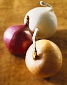 Three Onions; Yellow, Red and White