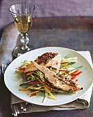 Pepper Crusted Salmon on Bed of Julienned Vegetables; White Wine