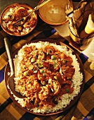 Shrimp Creole Over White Rice in a Serving Bowl; Single Serving of Shrimp Creole over Rice