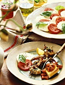 Skewered Grilled Shrimp with Polenta and Tomato, Mozzarella and Basil Salad