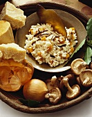 Bowl of Risotto with Butternut Squash and Mushrooms; Fresh Ingredients