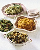 Four Assorted Thanksgiving Side Dishes in Holiday Serving Bowls