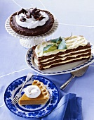 Assorted Holiday Desserts: Mississippi Mud Pie, Walnut Lemon Layer Cake and Pumpkin Pie