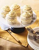 Mini Lemon Poppyseed Cakes on a Cake Plate