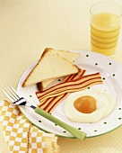 April Fool breakfast: apricot egg and candy bacon