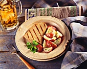 Grilled Tuna Steak with Red Potatoes and Mug of Beer; Fishing Newsletter
