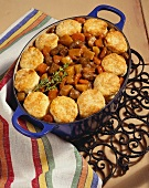 Beef Pot Pie with Biscuit Topping in Stew Pot on Cooling Rack