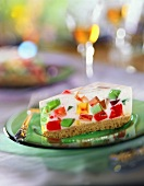 Slice of Pie with Colorful Gelatin Cubes