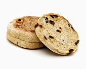 English muffins with cinnamon and raisins