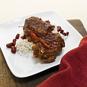Rump steak with chilli, red kidney beans and rice