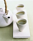 Three Cups of Green Tea with Kettle