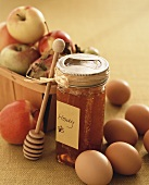 Honey with Honey Dipper, Apples and Eggs
