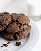 Double chocolate cookies and a glass of milk