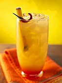 Hot Mango Cocktail on the Rocks; Colorful Cloth Napkin