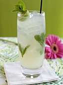 Cold Mojito with Straw on White Napkin; Pink Gerber Daisy