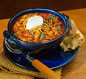 Chili con Carne with Sour Cream and Bread