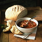 Bean and tomato soup with farmhouse bread