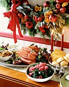 Christmas buffet with ham, salad and bread