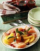 Citrus fruit platter with cranberries