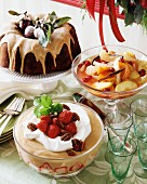 Christmas desserts (buffet): fruit compote, ring cake, trifle