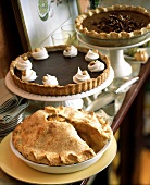 Dessert Buffet with Apple Pie, Chocolate Tart and Pumpkin Pie