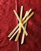 Malfadine pasta on red cloth