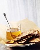 Pieces of crispbread with honey