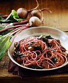 Spaghetti with beetroot and chard