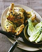 Herb chicken with pak choi