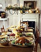 Roast turkey on festive table (Thanksgiving)
