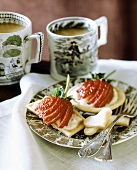 Shortbread with soft cheese and strawberries, with tea