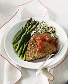 Sliced Meatloaf with Wild Rice and Asparagus