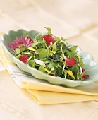 Summery herb salad with edible flowers