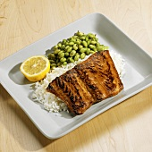 Salmon fillet with maple & soya glaze, rice and soya beans