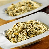 Angel Hair Pasta with Clam Sauce Served in Two Square Bowls