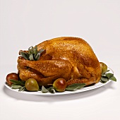 Roast turkey with pears and sage